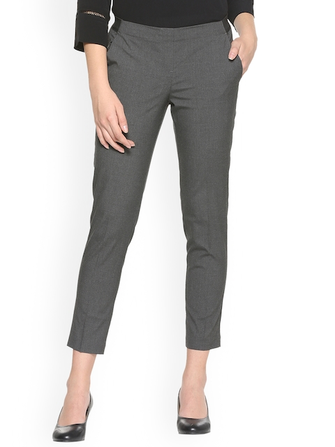 Van Heusen Woman Women Grey Regular Fit Solid Cigarette Trousers