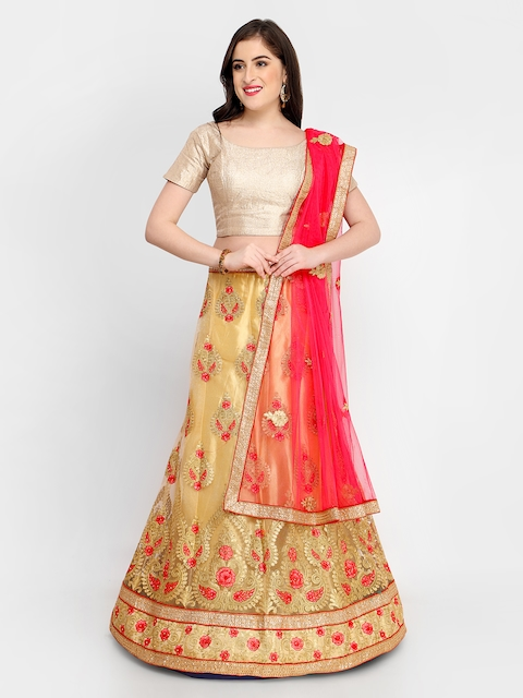 MANVAA Gold-Toned & Red Solid Unstitched Lehenga & Blouse with Dupatta