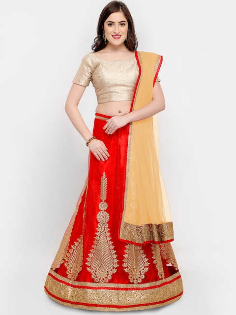 MANVAA Red & Cream-Coloured Solid Semi-Stitched Lehenga & Unstitched Blouse with Dupatta