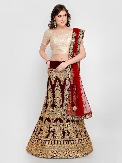MANVAA Maroon Embroidered Velvet Semi-Stitched Lehenga & Unstitched Choli with Dupatta