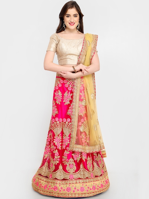 MANVAA Pink & Yellow Embroidered Ready to Wear Lehenga & Unstitched Choli with Dupatta