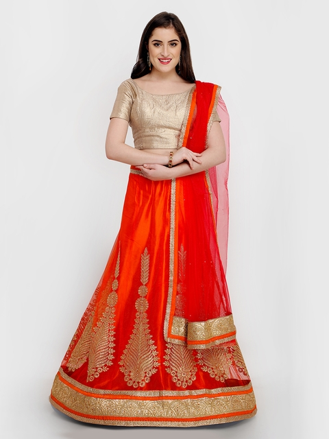 MANVAA Orange & Beige Solid Ready to Wear Lehenga & Unstitched Choli with Dupatta
