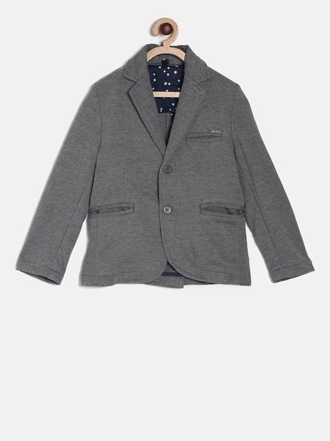 Gini and Jony Boys Grey-Melange Solid Single-Breasted Solid Blazer