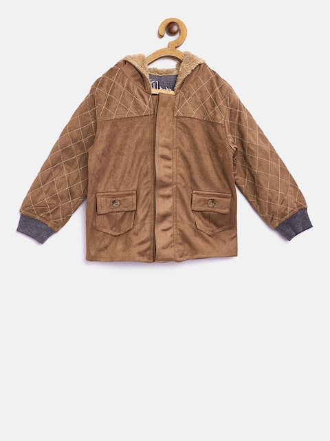 Gini and Jony Boys Brown Solid Suede Finish Hooded Tailored Jacket