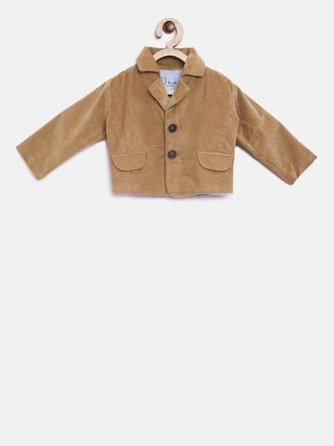 Gini and Jony Boys Brown Solid Single-Breasted Blazer