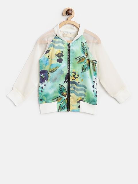 Gini and Jony Boys Green Printed Bomber Jacket