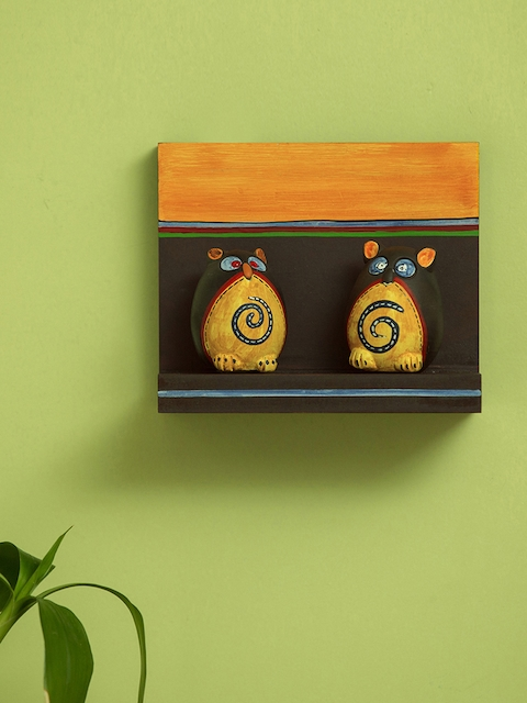 ExclusiveLane Brown & Mustard Yellow Wooden Handcrafted & Hand-Painted Pocket Wall Shelf