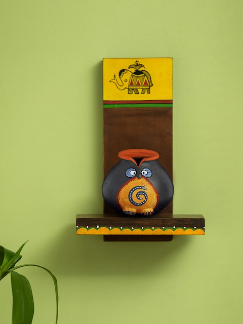 ExclusiveLane Brown & Yellow Wooden Handcrafted & Hand-Painted Pocket Wall Shelf