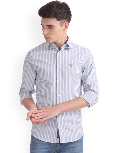 GANT Men Blue & Blue Slim Fit Striped Casual Shirt