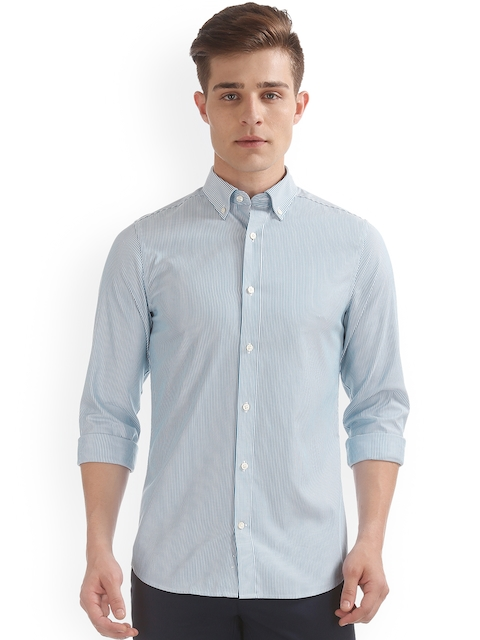 GANT Men Blue & White Slim Fit Striped Casual Shirt