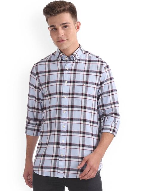 GANT Men Blue & White Regular Fit Checked Casual Shirt