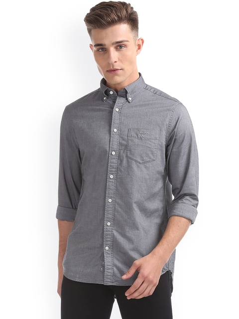 GANT Men Black & Black Regular Fit Self Design Casual Shirt