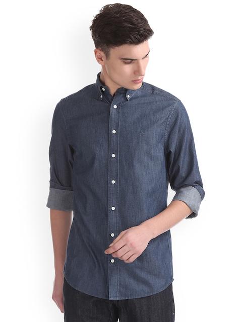 GANT Men Blue & Blue Regular Fit Faded Casual Shirt