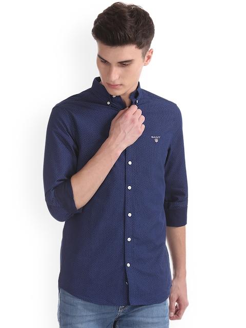GANT Men Blue & Blue Regular Fit Printed Casual Shirt