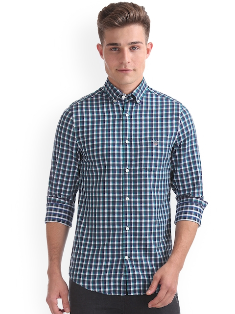 GANT Men Blue & Blue Slim Fit Checked Casual Shirt