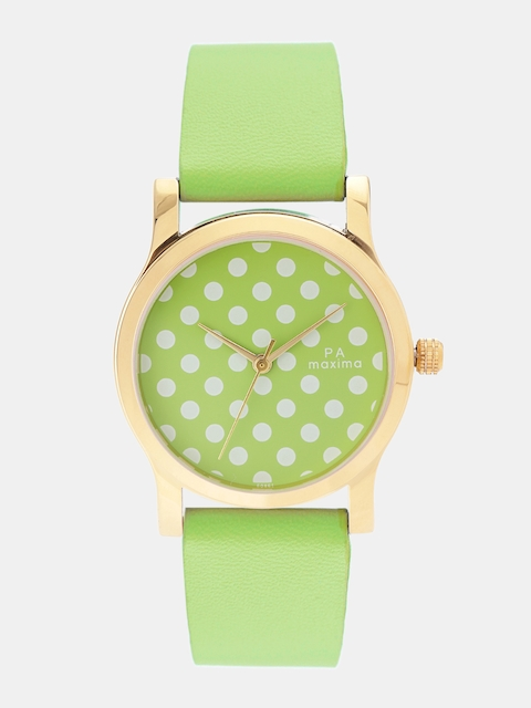 maxima Women Green & White Analogue Watch