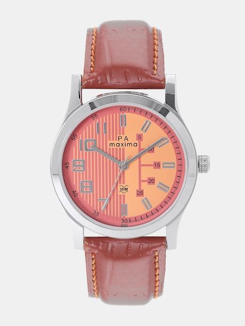 maxima Men Peach-Coloured & Pink Analogue Watch O-49565LMGI