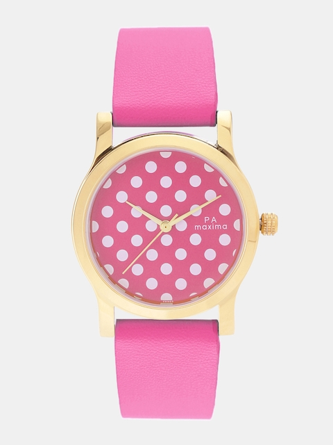 maxima Women Pink & White Analogue Watch O-50862LMLY