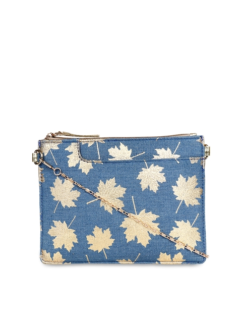 3 Mad Chicks Blue & Gold-Toned Printed Sling Bag