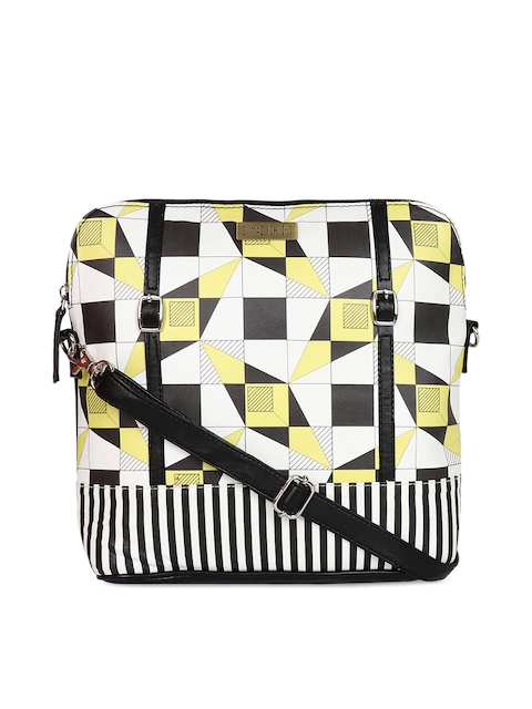 3 Mad Chicks Black & White Printed Sling Bag