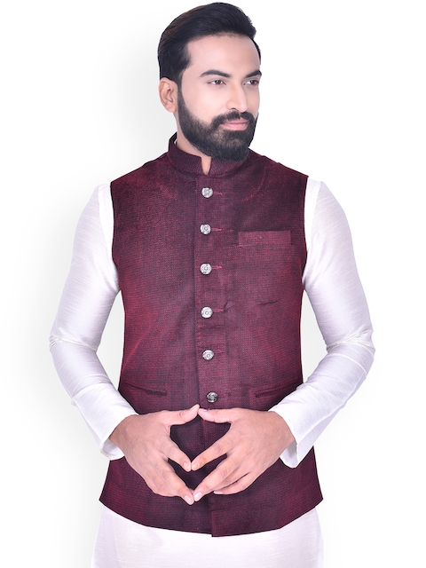 Manyavar Men Maroon Nehru Jacket