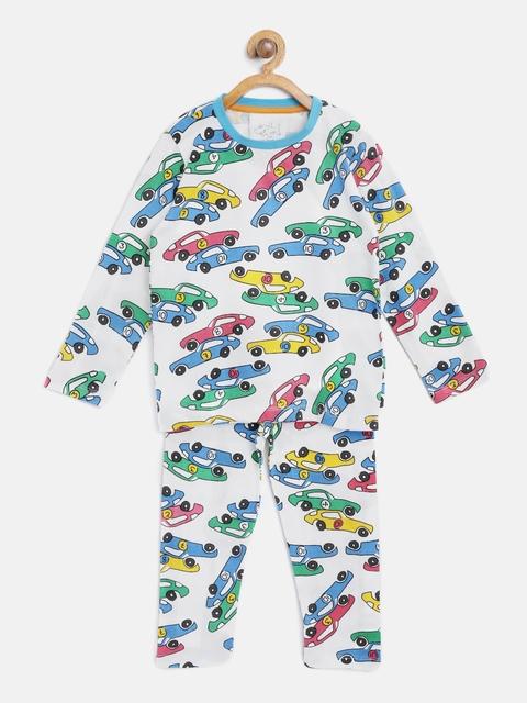Lazy Shark Boys White & Blue Printed Night Suit