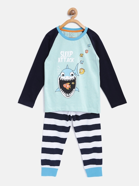Lazy Shark Boys Blue & White Printed Night Suit LSNF0011-67