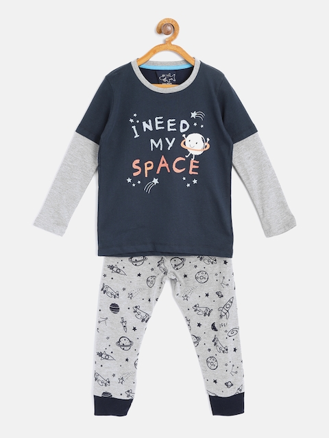 Lazy Shark Boys Navy Blue & Grey Melange Printed Night Suit LSNF0020-67