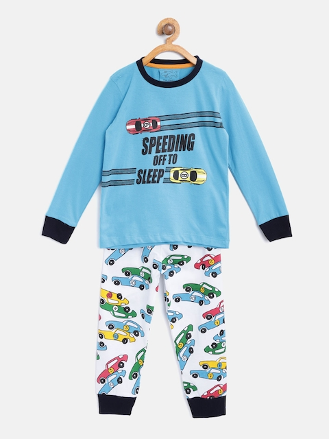 Lazy Shark Boys Blue & White Printed Night Suit LSNF0009-67