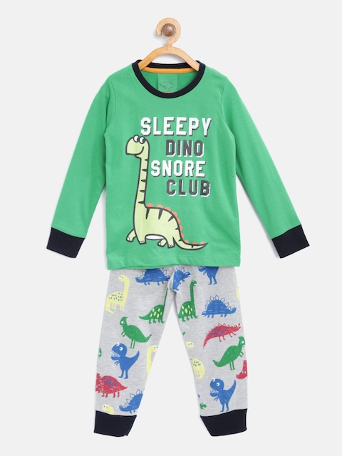 Lazy Shark Boys Green & Grey Melange Printed Night Suit LSNF0010-67