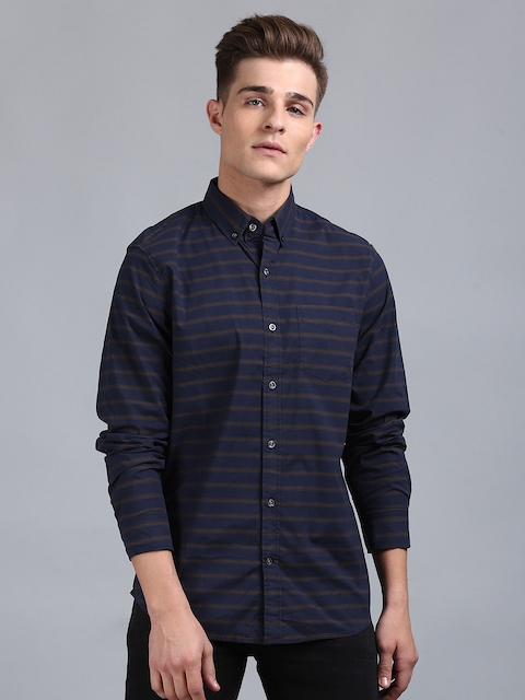 GAP Men Blue Striped Poplin Shirt in Stretch