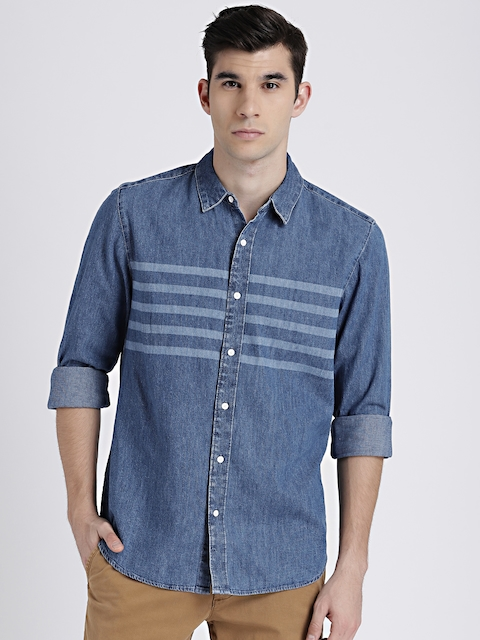 GAP Mens Blue Denim Western Shirt in Laser Wash