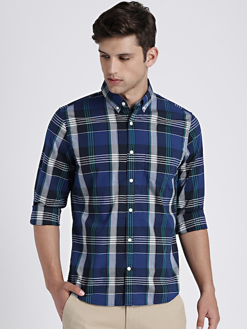 GAP Men Blue & Black Poplin Plaid Shirt in Stretch