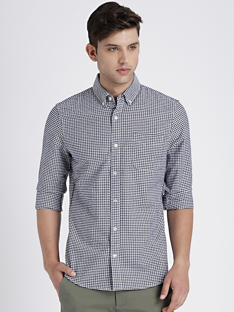 GAP Mens Navy & White Oxford Shirt in Stretch
