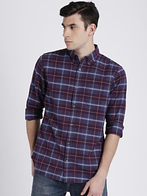 GAP Mens Blue & Burgundy Pattern Oxford Shirt in Stretch
