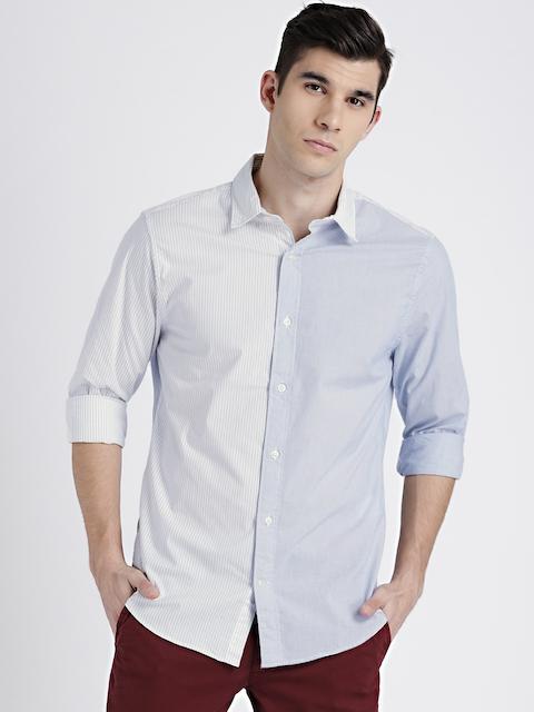 GAP Mens Blue & White Slim Fit Poplin Shirt in Stretch