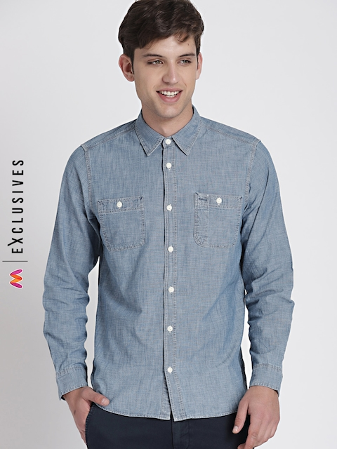 GAP Men Blue Icon Worker Chambray Shirt