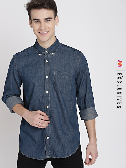 GAP Men Blue 1969 button-down denim shirt