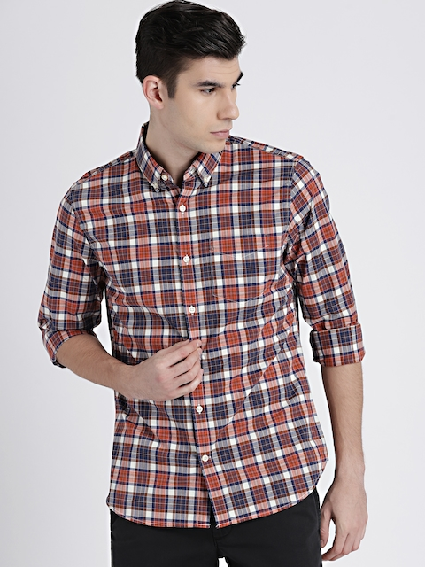 GAP Mens Rust Orange & Navy Blue Poplin Plaid Shirt in Stretch