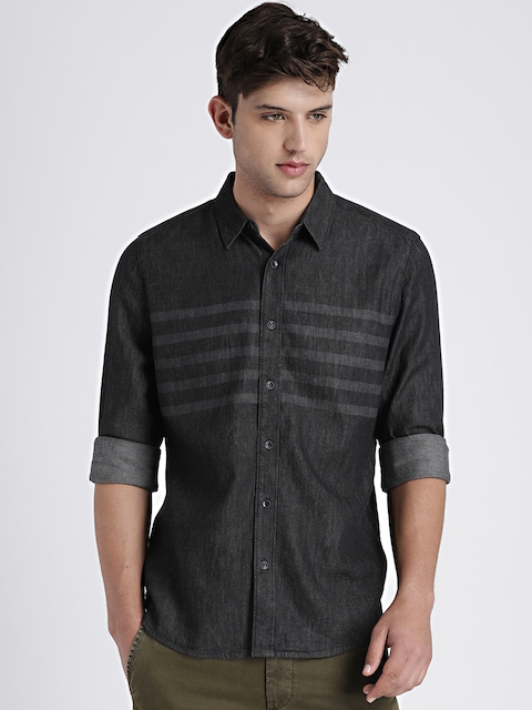 GAP Mens Black Denim Western Shirt in Laser Wash