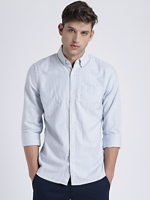 GAP Mens Blue & White Oxford Shirt in Stretch