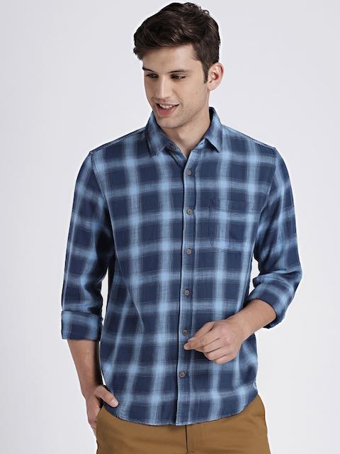 GAP Mens Blue Plaid Cotton Twill Shirt