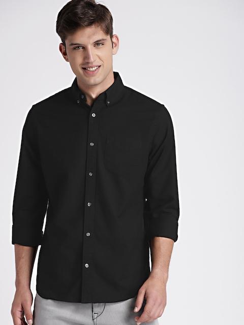 GAP Mens Black Pattern Oxford Shirt In Stretch