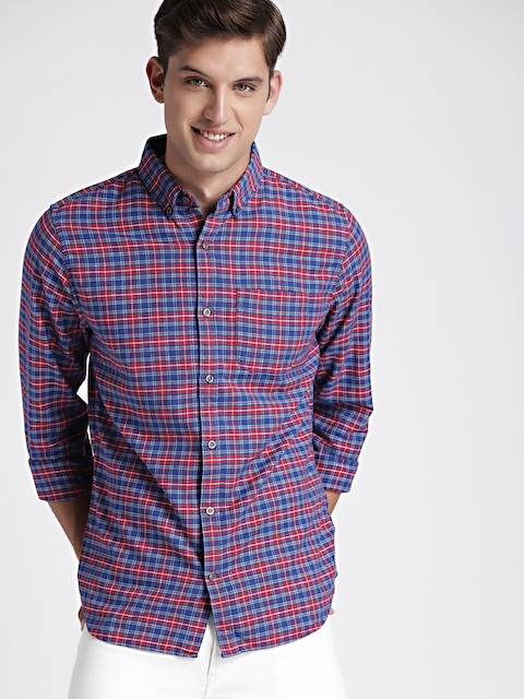 GAP Mens Blue & Red Slim Oxford Shirt In Stretch