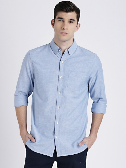 GAP Mens Blue Oxford Shirt in Stretch