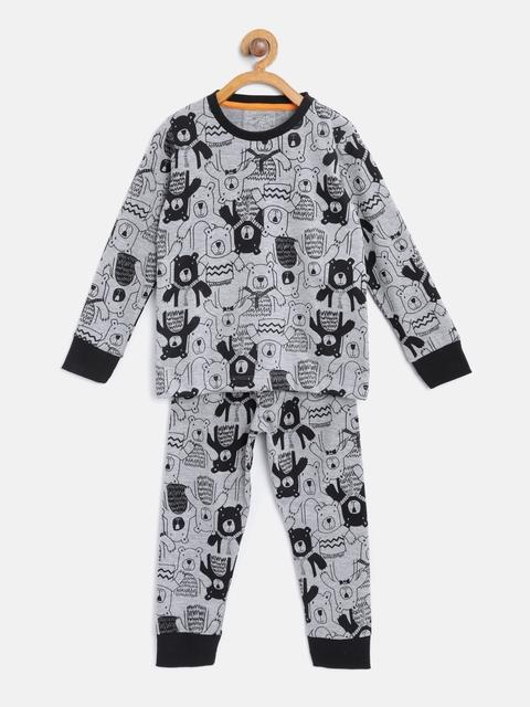 Lazy Shark Boys Grey Melange & Black Printed Night Suit LSNF0013-67