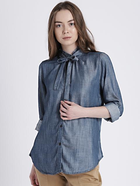 GAP Womens Blue Ruffle Neck Tie Shirt