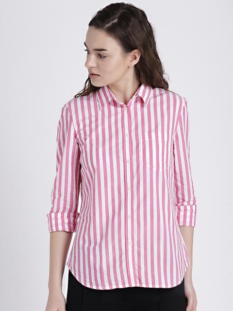 GAP Womens White & Pink Boyfriend Stripe Shirt