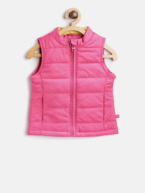 United Colors of Benetton Girls Pink Solid Padded Jacket