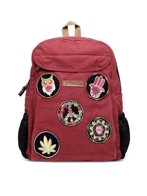 The House of Tara Unisex Maroon Solid Backpack